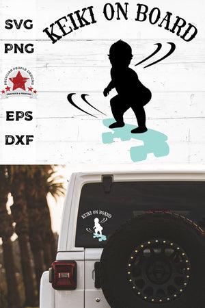 keiki on board - hawaiian skateboarding boy svg decal on a car's rear window