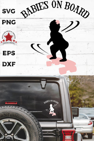 Load image into Gallery viewer, babies on board, skateboarding girl svg, cut as a car decal, shown on the rear window of a black jeep