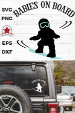babies on board, snowboarding svg, cut as a car decal, shown on the rear window of a black jeep
