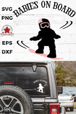 babies on board, snowboarding girl svg, cut as a car decal, shown on the rear window of a black jeep