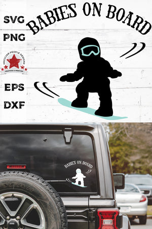 Load image into Gallery viewer, babies on board, snowboarding svg, cut as a car decal, shown on the rear window of a black jeep