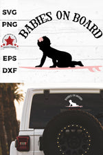 babies on board, surfboarding girl svg, cut as a car decal, shown on the rear window of a black jeep