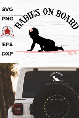 Load image into Gallery viewer, babies on board, surfboarding girl svg, cut as a car decal, shown on the rear window of a black jeep