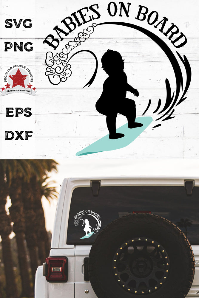 babies on board, surfboarding svg, cut as a car decal, shown on the rear window of a black jeep