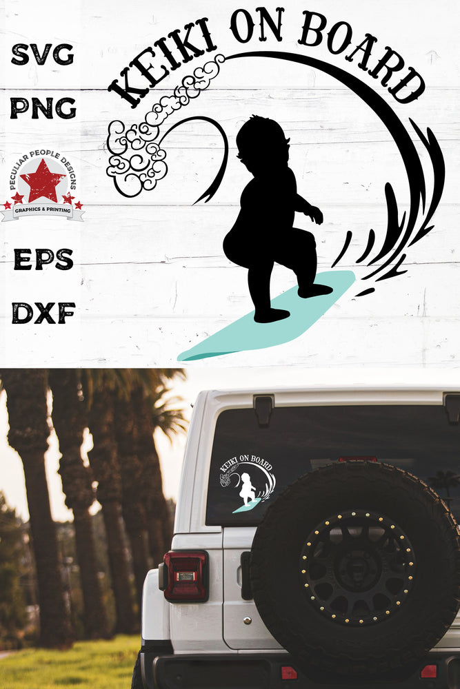 Keiki On Board - Hawaiian Surfing Boy - SVG PNG EPS DXF