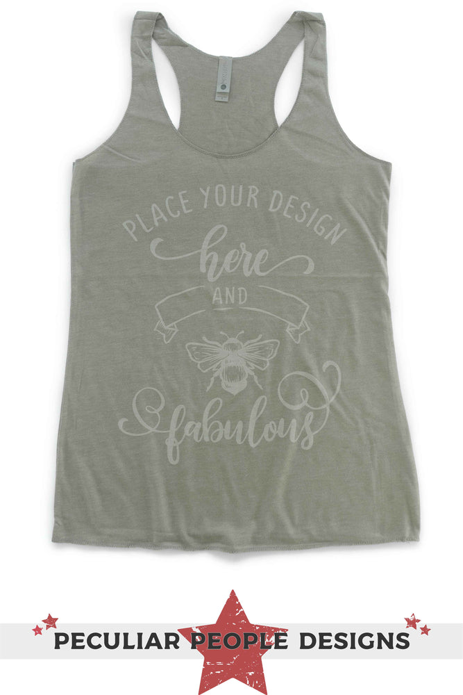 "NL 6733 flat lay with logo reading ""place your design here and bee fabulous"""