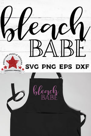 Load image into Gallery viewer, bleach babe printed on a black hairstylist apron in purple glitter htv