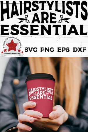 Load image into Gallery viewer, closeup of a young woman holding a travel mug printed with hairstylists are essential svg
