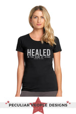 a beautiful young woman wearing the healed Isa 53 five shirt