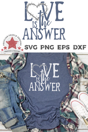 A casual outfit layed out, including a blue tee printed with love is the answer svg