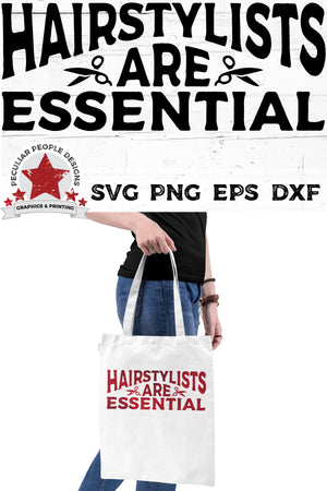 Load image into Gallery viewer, A woman carrying a white bag printed with Hairstylists-Are-Essential-svg