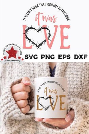 Load image into Gallery viewer, it was love svg shown in gold foil on a white mug held by a woman in a cozy sweater