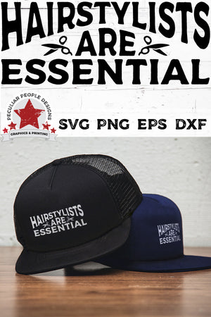 Load image into Gallery viewer, two stacked snapback hats printed with Hairstylists-Are-Essential-svg