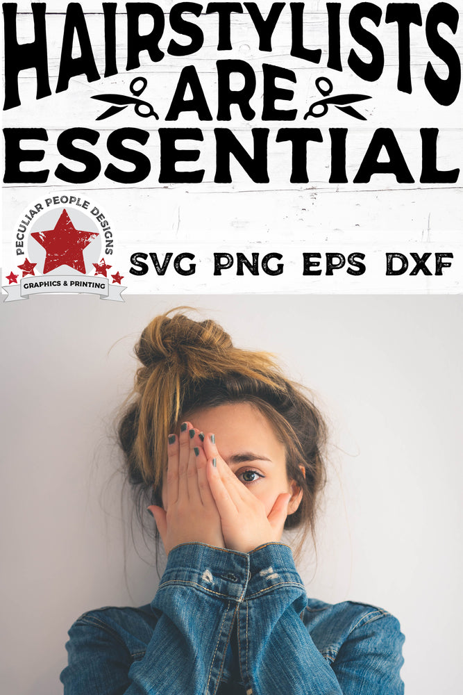 Load image into Gallery viewer, a young woman with a messy bun, hiding her face, with Hairstylists-Are-Essential-svg displayed above her head
