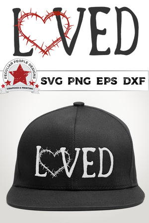Load image into Gallery viewer, loved crown of thorns svg shown in white on a black snap back hat