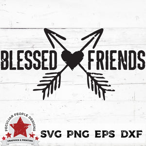 Load image into Gallery viewer, Blessed-Friends-Crossed Arrows Distressed-SVG-png eps dxf by peculiar-people-designs