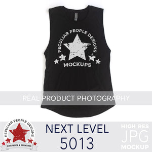 Load image into Gallery viewer, a Black, next level 5013 muscle tank flat lay mockup with a white background by peculiar people designs