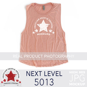 a Desert Pink, next level 5013 muscle tank flat lay mockup with a white background by peculiar people designs
