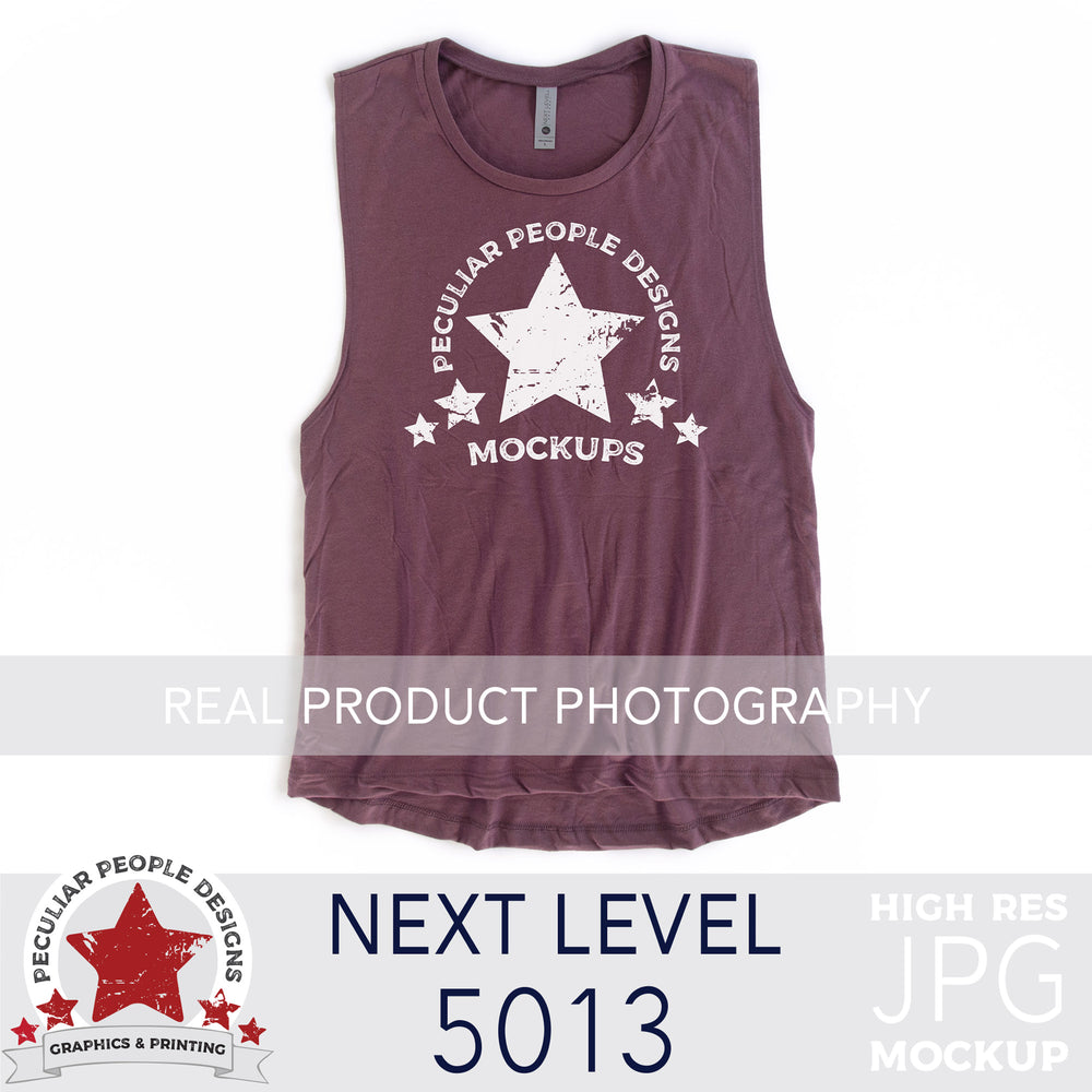 a Shiraz, next level 5013 muscle tank flat lay mockup with a white background by peculiar people designs