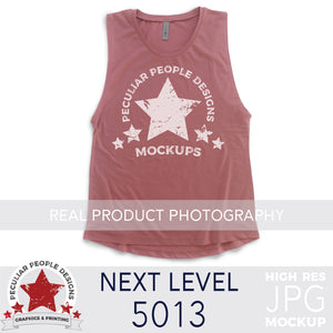a Smoked Paprika, next level 5013 muscle tank flat lay mockup with a white background by peculiar people designs