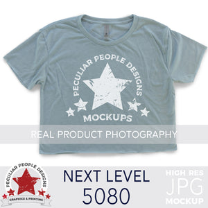 Load image into Gallery viewer, Next Level Cali Crop Top in Stonewash Blue, layed flat on a white background