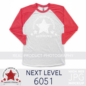 Load image into Gallery viewer, product photography mockup of a next level 6051 raglan in vintage red on a white background