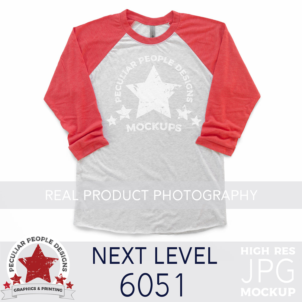 product photography mockup of a next level 6051 raglan in vintage red on a white background