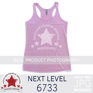 Load image into Gallery viewer, Flat lay Product photography mock up of Next Level 6733 Tri-Blend Racerback Tank in Vintage Lilac by peculiar people designs