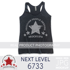 Load image into Gallery viewer, Product photography mock up of Next Level 6733 Tri-Blend Racerback Tank in Vintage Navy by peculiar people designs