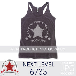 Load image into Gallery viewer, Product photography mock up of Next Level 6733 Tri-Blend Racerback Tank in Vintage Purple by peculiar people designs