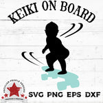 "a hawaiian, skateboarding, baby boy on skateboard vector design with text ""keiki on board"""