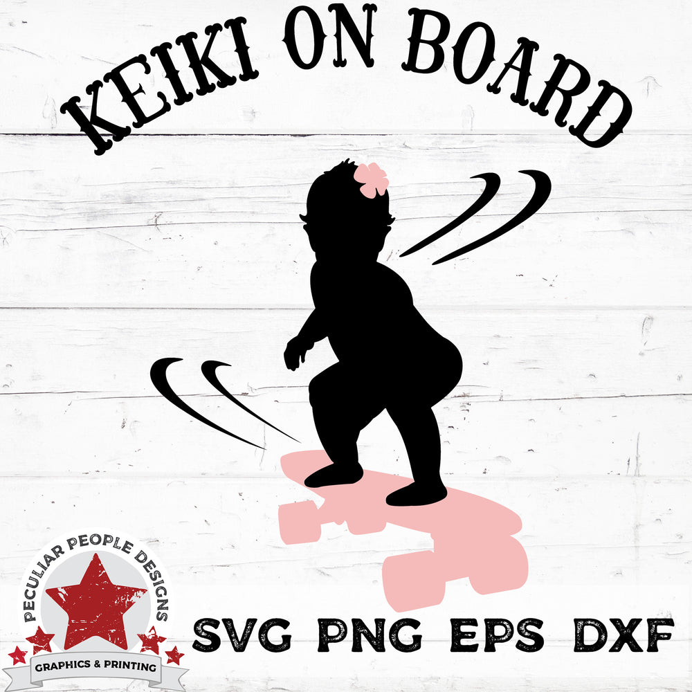 Keiki On Board - Hawaiian Skateboarding Girl - SVG PNG EPS DXF