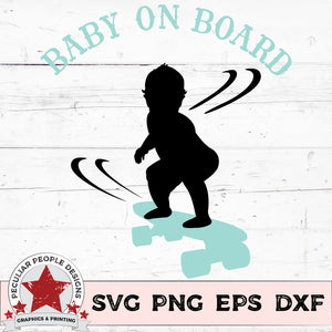 "Load image into Gallery viewer, skateboarding baby boy on skateboard vector design with text ""baby on board"""