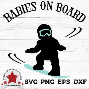 "Load image into Gallery viewer, vector design of a baby on a snowboard with text reading ""babies on board"""
