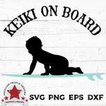 "a hawaiian surfer, baby boy on surfboard vector design with text ""keiki on board"""