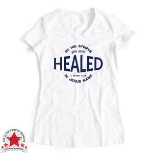 Load image into Gallery viewer, Healed 1 Peter 2:24 - Ideal V Neck - Christian Shirt For Women
