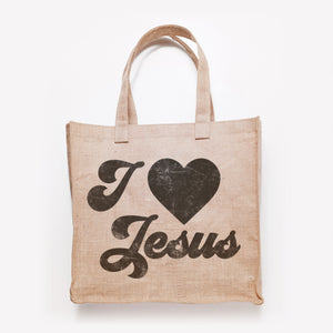 Load image into Gallery viewer, I Heart Jesus svg printed on an vintage canvas bag