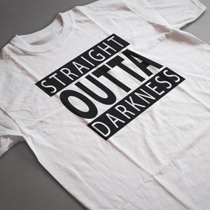 Load image into Gallery viewer, a wrinkled straight outta darkness tee laying out on a grey background