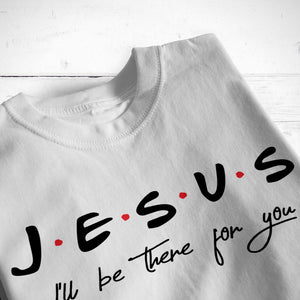 Load image into Gallery viewer, a folded grey tee printed with Jesus, I'll be there for you svg in black