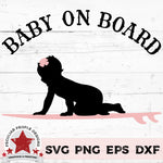 "a vector design of a baby girl on a surfboard with text reading ""Baby on Board"""