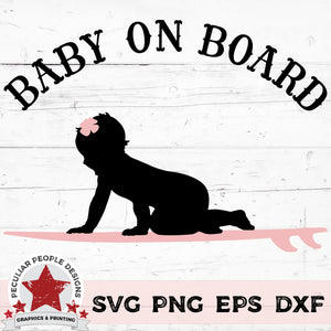 "Load image into Gallery viewer, a vector design of a baby girl on a surfboard with text reading ""Baby on Board"""