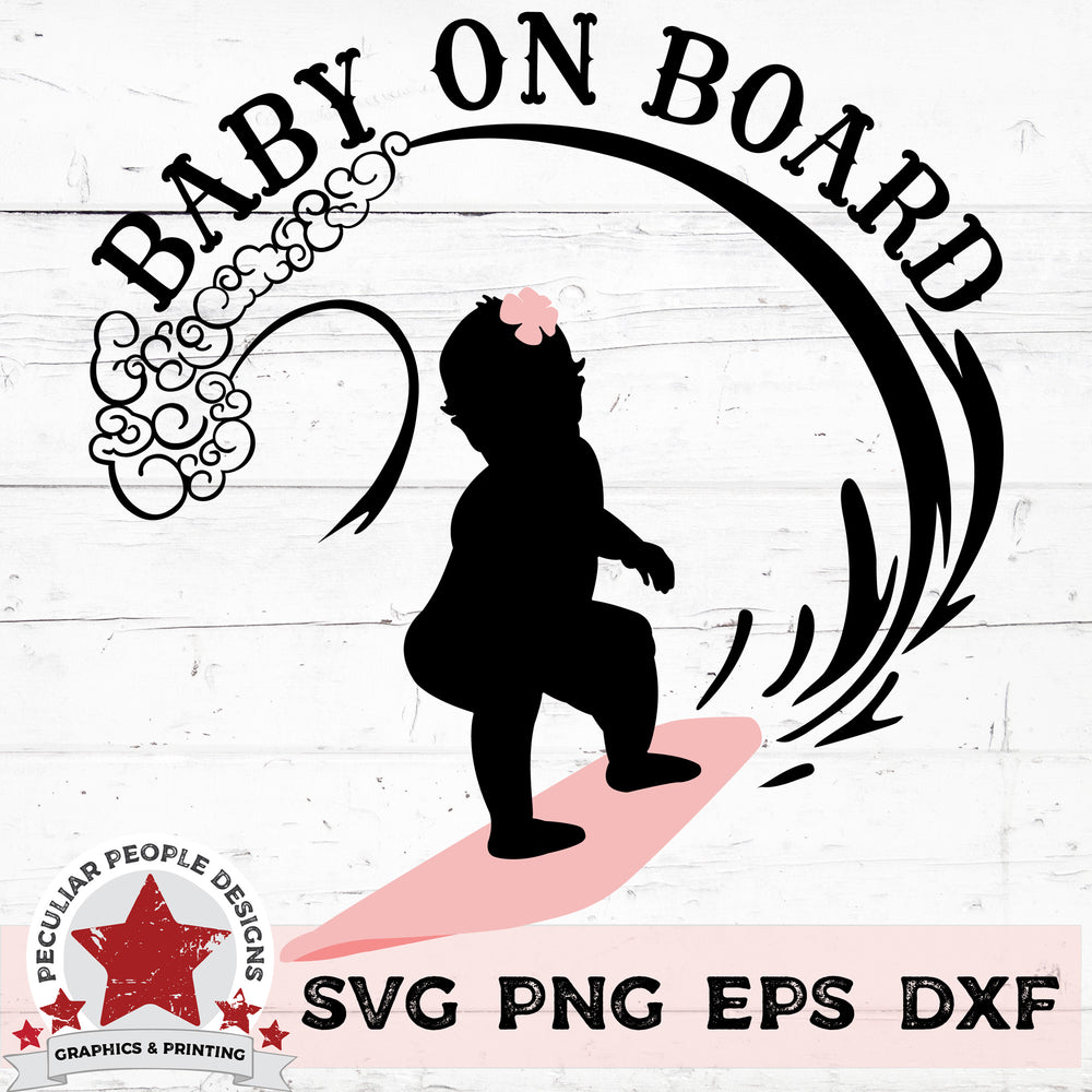 Load image into Gallery viewer, Baby On Board - Surfing Girl svg png eps dxf by peculiar people designs