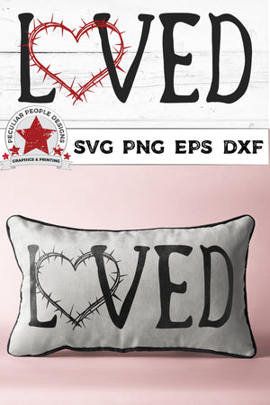 Load image into Gallery viewer, loved crown of thorns svg shown printed on a black and white pillow with a pink backdrop