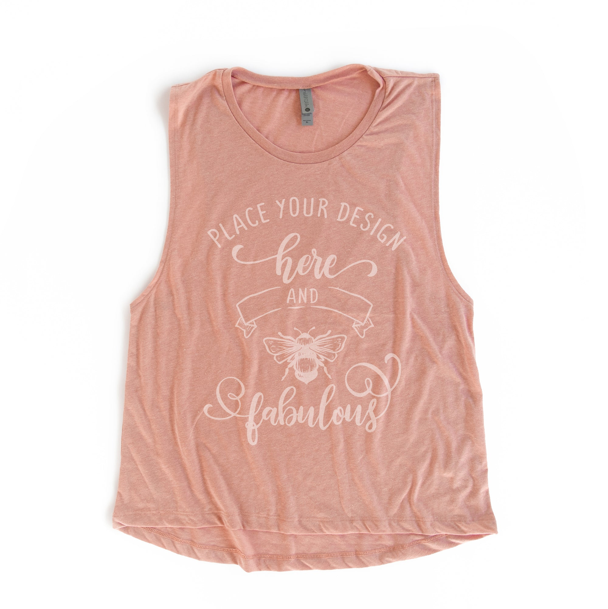 "a pink muscle tank on a white background that reads ""place your design here and be fabulous"""