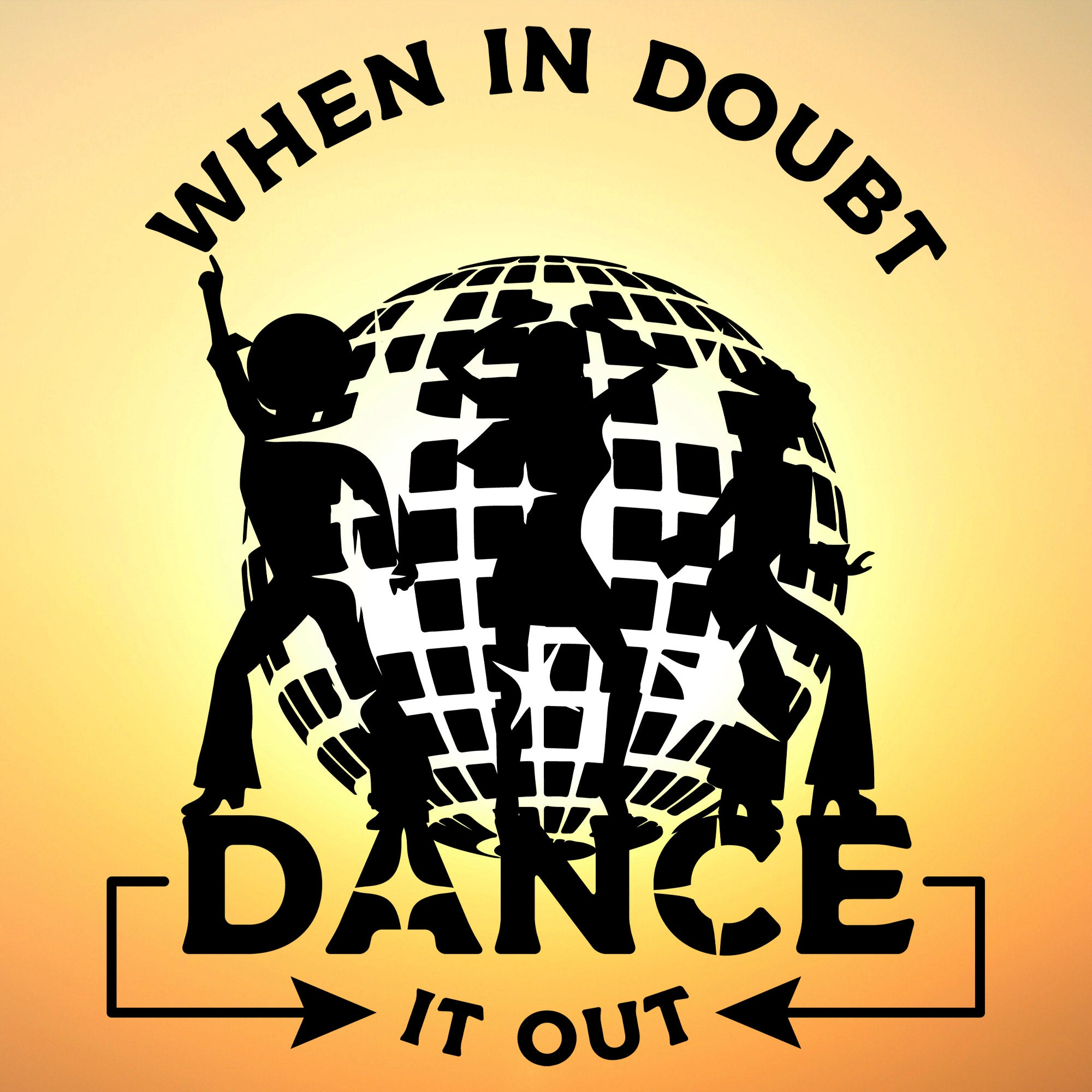 disco dancers, when in doubt dance it out, SVG on a sun washed sky background