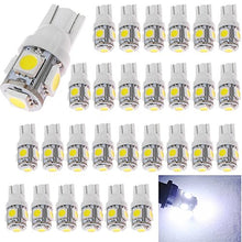 AMAZENAR 30-Pack White Replacement Stock #: 194 T10 168 2825 W5W 175 158 Bulb 5050 5 SMD LED Light ,12V Car Interior Lighting For Map Dome Lamp Courtesy Trunk License Plate Dashboard Parking Lights