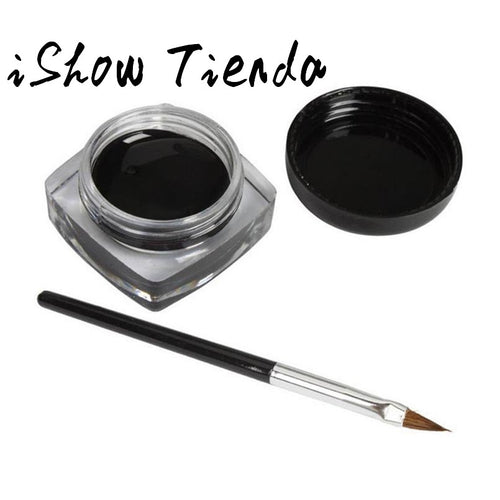 #Y# 1Pcs Brand New Black Long-lastingt Eye Liner Eyeliner Gel Makeup Cosmetic Eyeliners With Brush