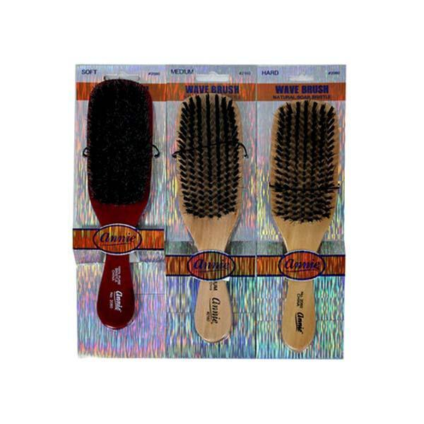 Annie Hair Accessories 2 WAY(100% Boar/Reinforced bristles) Annie - Wave Brush - Soft, Medium, Hard, 2 Way
