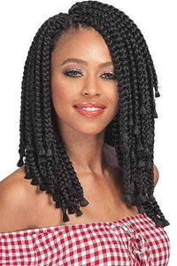 Bobbi Boss Box Braid 1 [3 Pack Deal] Bobbi Boss African Roots Collection Crochet Braid - BOMBA BOX BRAID BLUNT TIPS 10""