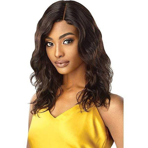 Outre 100% Human Hair Lace Wigs NATURAL BLACK Outre Mytresses Gold Label 100% Unprocessed Human Hair Lace Front Wig - NATURAL BODY 20-22""